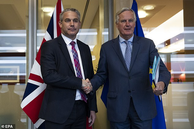 """Brexit Secretary Steve Barclay yesterday presented Michel Barnier, chief EU negotiator for Brexit, with the outline of a meeting called """"constructive"""" (photo together Friday)."""