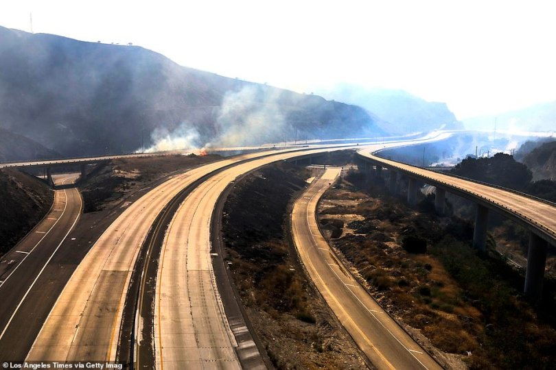 Due to the ongoing Saddleridge fire, Freeway 5 and Freeway 14 (pictured) are closed until further notice from city officials