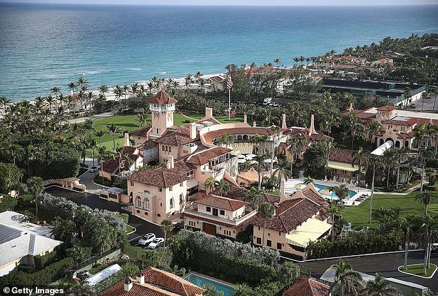 'She likes the key lime pie,' Trump said of Winfrey, who was a guest at the president's Mar-a-Lago resort (seen above)