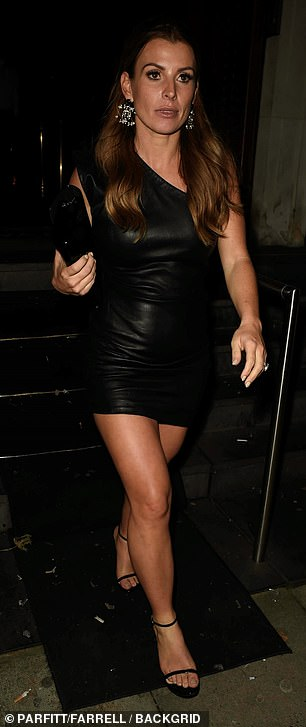 Gorgeous: Coleen brushed off the recent drama as she walked along out of the soiree