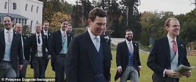 Princess Eugenie captioned the post: 'This was the greatest day of my life... Forever and always! Happy one year anniversary, my Jack!' Pictured: Jack Brooksbank (centre)