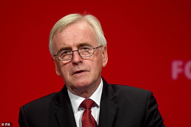 It comes after shadow chancellor John McDonnell (pictured) said on Friday that he and Mr. Corbyn would resign if Labor loses the next election