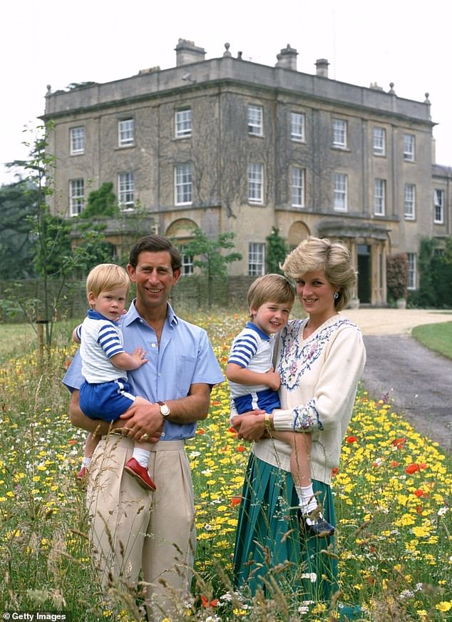 Prince Charles (pictured alongside Diana with their sons William and Harry at Highgrove in Tetbury, Gloucestershire) has now been in charge of the Duchy of Cornwall estate for 50 years