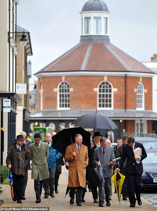 The documentary follows Charles also in his model village Poundbury, Dorset, which met in his view, criticism. Pictured: The prince visiting the village in 2013