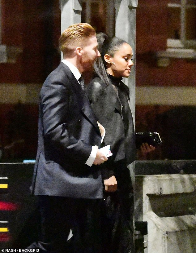 Night out:Neil Jones, 37, and Alex Scott, 34, were seen arriving at her London pad after a day of rehearsals and evening at the International Ballroom Dancing Championships on Thursday