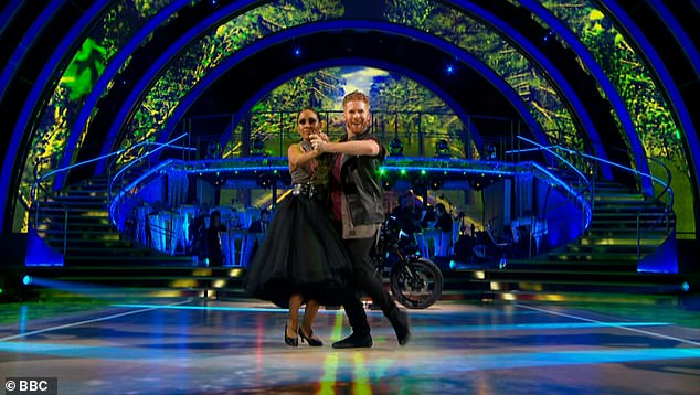 Steamy:The pair earned a mixed response for their biker-themed routine, and scored 23 points out of 40