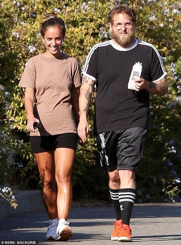 Quality time: Jonah Hill and fiancee Gianna Santos took a long walk together to the beach in Santa Monica over the weekend
