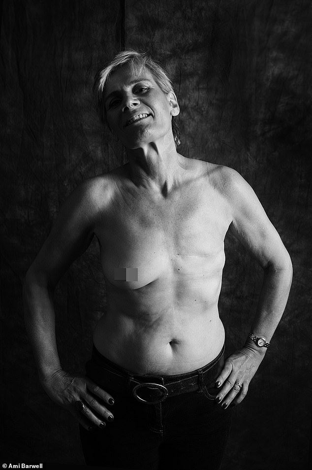 """Stella Bradley, 53, from Shropshire, was diagnosed with breast cancer in 2016. She said: 'I wished to model for Ami for two reasons: one to be a bolder, braver version of myself and also to raise awareness of breast cancer and living with a new """"normal"""". I have found an inner strength I didn't know I had and it has made me appreciate all I have in life'"""