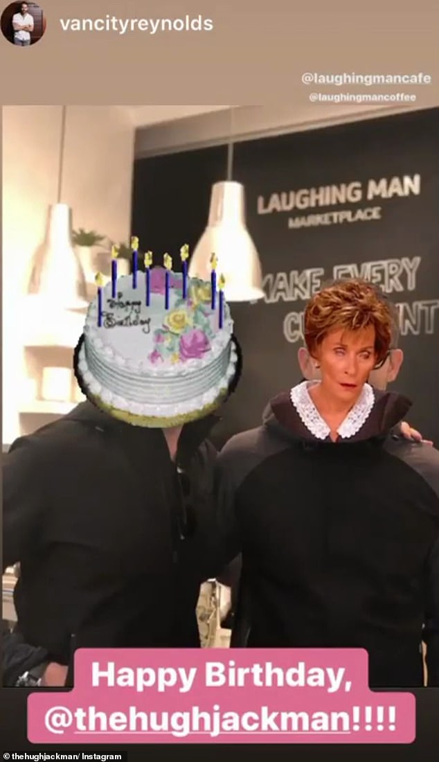 Hit back! Hugh re-posted the birthday snap with an animated gif of Judge Judy Sheindlin rolling her eyes on top of Ryan's face.