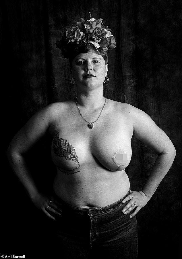 Alice-May Purkiss, 30, from London, was diagnosed with stage 3 triple negative breast cancer in 2015 when she was 26. She said: 'It's taken me a long time to get my breast back to any semblance of normality and I want to celebrate that. Also, I just got a badass mastectomy tattoo which has completely changed my feelings about my fake boob and I adore it, so I'm keen to share that joy'