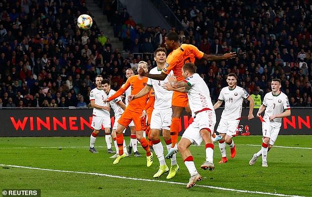 For his first goal Wijnaldum scored a header following following Quincy Promes' cross