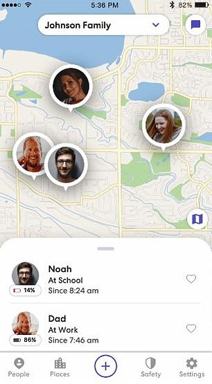 Life360 allows families to join a private 'circle' where members can see the real-time whereabouts of other participants and receive notifications when a family member arrives at or leaves a frequented location