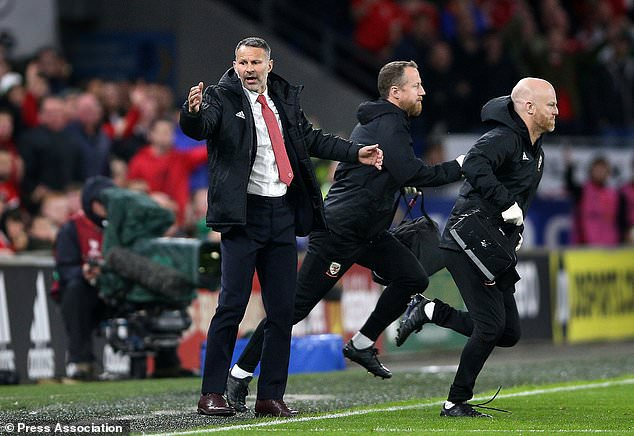 Wales manager Ryan Giggs reacts to a Croatian challenge on Daniel James (Nigel French/PA)