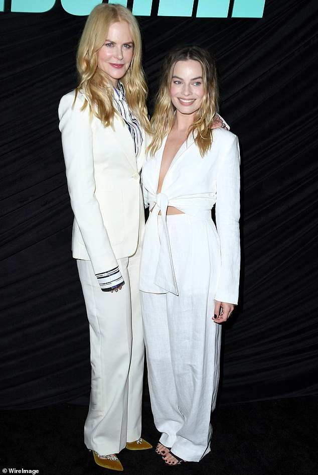 Blond bombshells:Nicole Kidman and Margot Robbie attended a special screening of Lionsgates' Bombshell in West Hollywood on Sunday, in twinning white looks