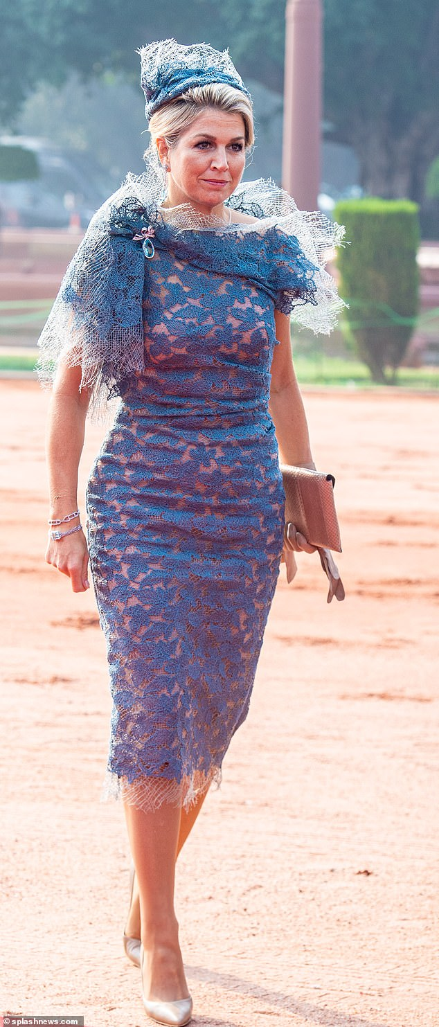Earlier during the day, Queen Maxima arrived to the welcome ceremony at Rashtrapati Bhavan in New Delhi