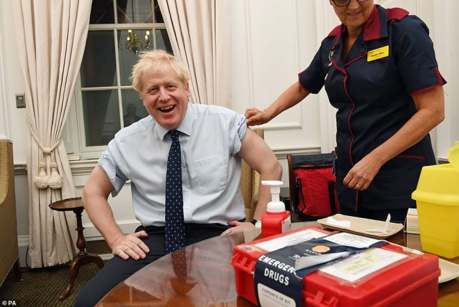 Boris Johnson had his flu jab in No10 today before heading to the Houses of Parliament for the Queen's Speech