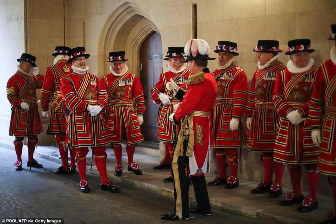 Yeomen of the Guard were decked out ready for their big day at Westminster ahead of the Queen's Speech today