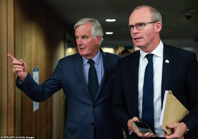 Michel Barnier, pictured alongside Simon Coveney in Brussels on October 8, told ambassadors that Britain's Irish backstop alternative is still not acceptable