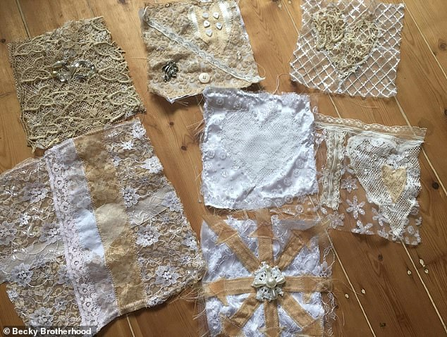 The material for Becky's dress came from all over the world - with one client gifting her sparkly fabric all the way from Iran. Pictured, the pieces of material