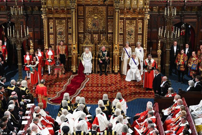 The Queen's ceremonial train was draped over the stairs as she sat in the throne to deliver her speech today