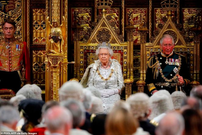 The Queen waited patiently in the Lords chamber for MPs to trail in from the House of Commons for her speech today