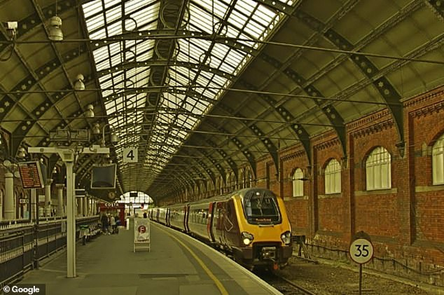The incident happened on a York to Newcastle train at Darlington (pictured in file photo)