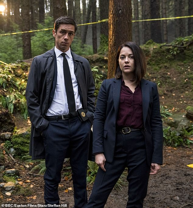 Actors Killian Scott and Sarah Greene (pictured) as detectives Rob Reilly and Cassie Maddox in BBC Dublin Murders which follows the case of a murdered young girl