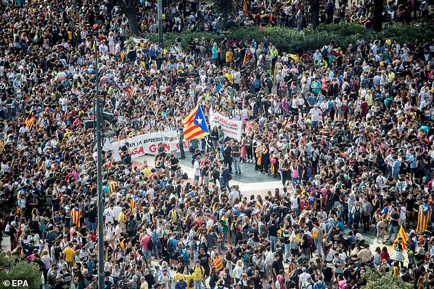 Several thousand people gather at Catalunya Square in Barcelona today to protest against the sentence ruled by Supreme Court on 'process' trial'