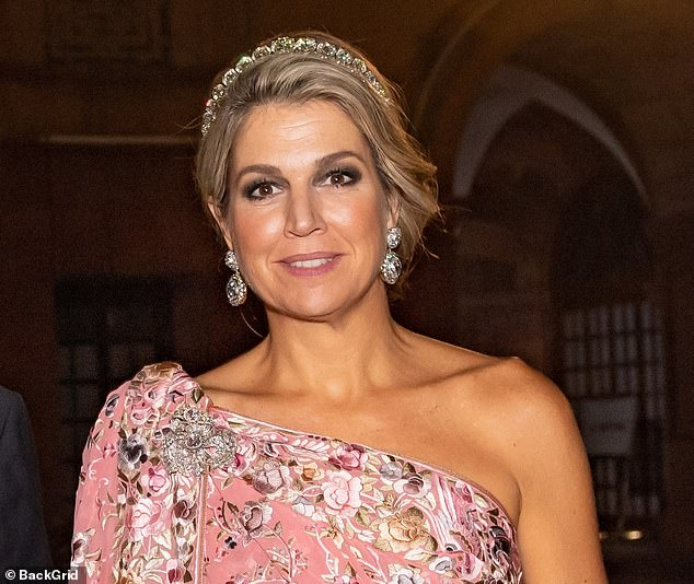 Maxima, who will be touring India for five days, also donned a delicate silver tiara across her blonde locks