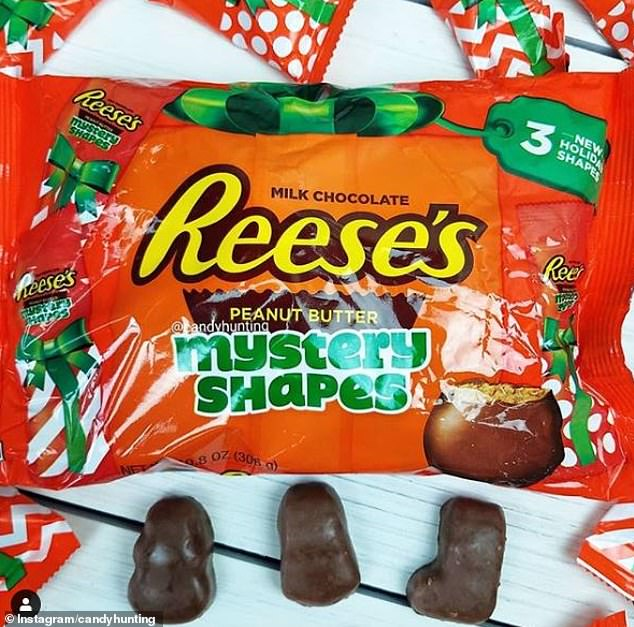 Um... It has three different mystery shapes which look like chocolate blobs
