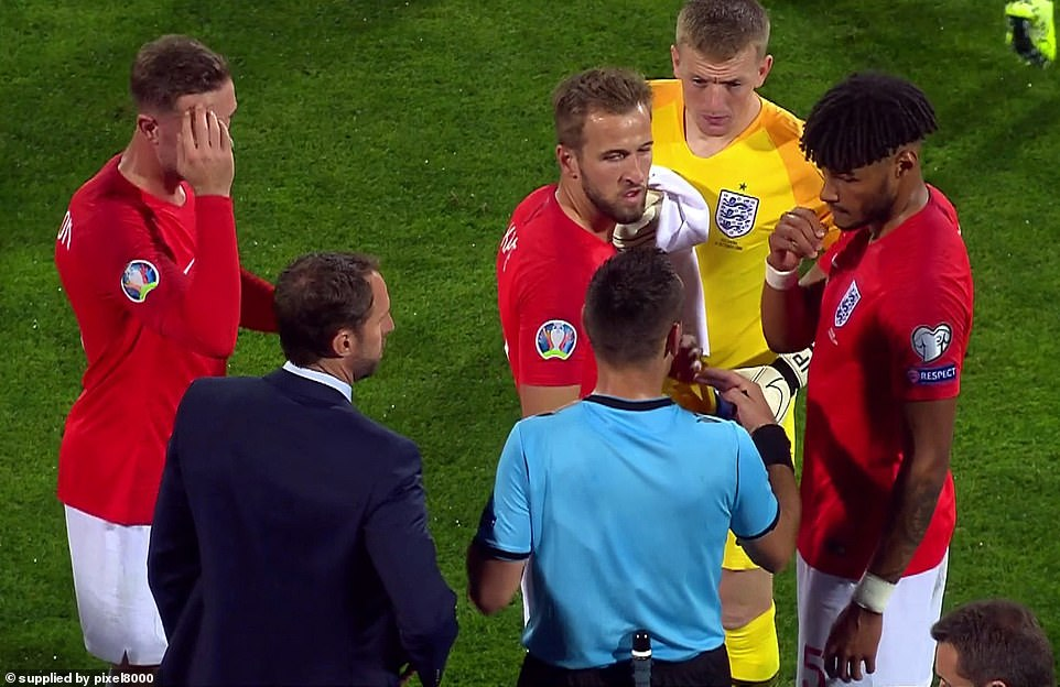 The game was stopped for a second time as Gareth Southgate reported more abuse from the stands
