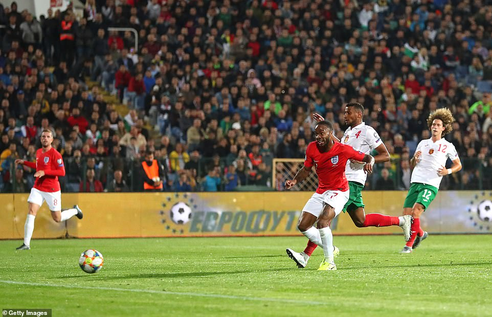 The Manchester City wideman added another for England on 68 minutes after sliding an unerring effort beyond Iliev