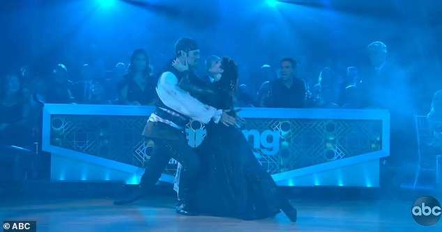 Intense dance: Emma Slater and James delivered an intense paso doble