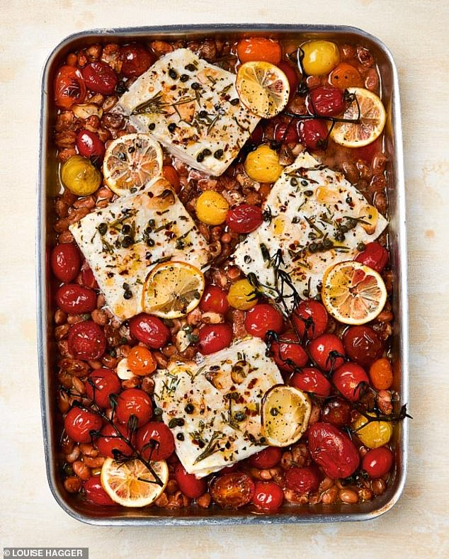 This tasty baked halibut with borlotti beans & tomatoes (pictured) is a speedy all-in-one traybake that can be easily shared