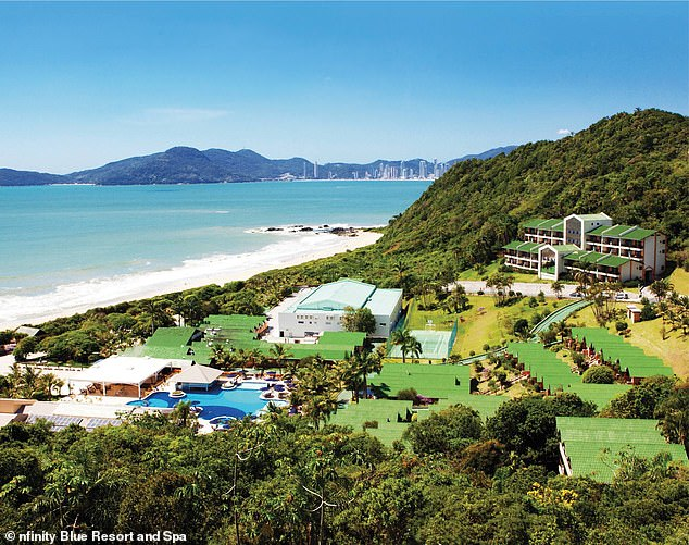 Brunel's phone linked to the pricey Infinity Blue Resort and Spa there in Santa Catarina, pictured. Maxwell's cell records also put her in the area, according to reports