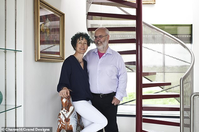 The couple reveal how trouble strikes when an expert ground worker they hired to do the foundations suddenly cancels out of the blue. Pictured, the narrow spiral staircase