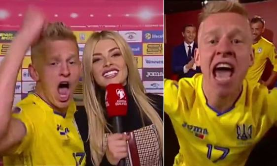 Manchester City full back Oleksandr Zinchenko wildly celebrates ...