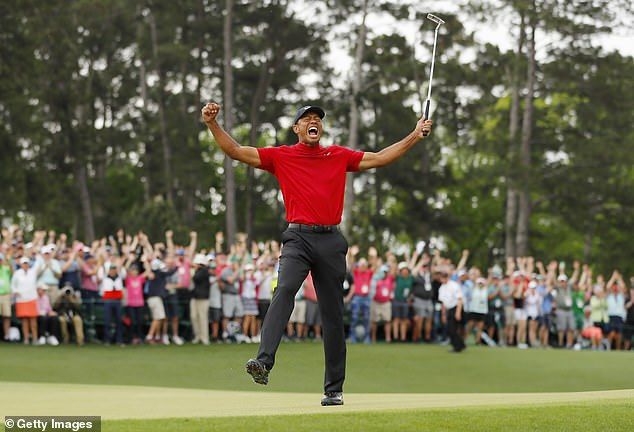 Woods roars to the crowd after his incredible comeback victory at the Masters in April