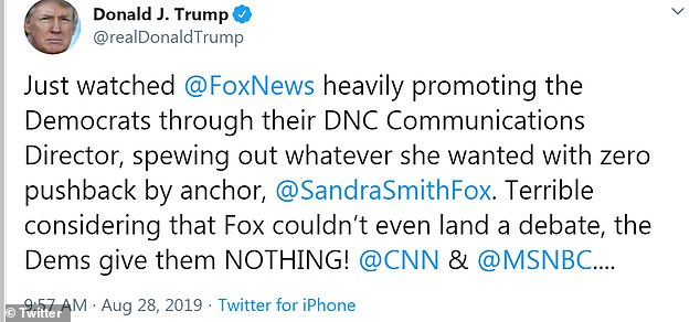The president lashed out at Fox News in August after news anchor Sandra Smith interviewed Democratic National Committee Communications Director Xochitl Hinojosa