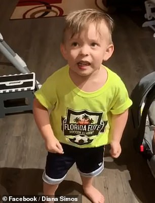 His father Christos Simos filmed Alexander's hilarious reaction, expressing his outrage in baby babble on how his mother rushed out the door with kissing him, his father, or his newborn sister goodbye