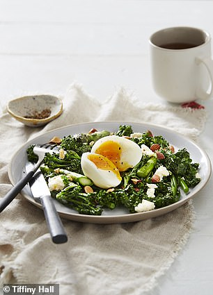 Her cafe-inspired breakfast of charred greens made with asparagus, broccolini, feta and a boiled egg contains just the right amount of protein and vitamins to keep her energised until lunch