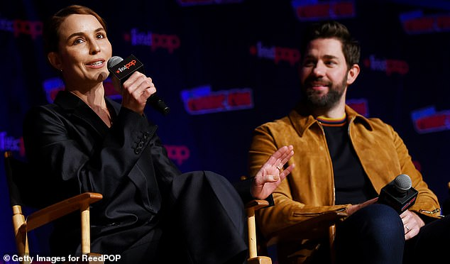 Promote: Krasinski was there to discuss and promote the second season of his Amazon series Jack Ryan, which debuts November 1