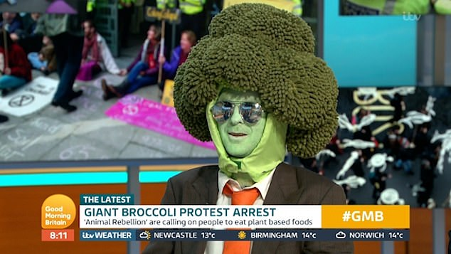 'Mr Broccoli Head' was arrested in central London on October 14 as he held a sign saying 'I'm locally sourced and environmentally friendly' and shouted 'Give peas a chance'