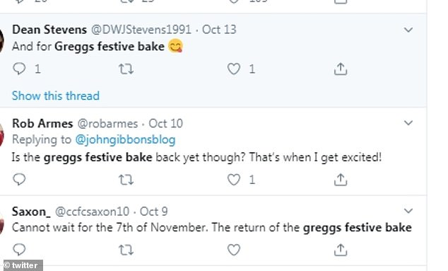 Social media fans admitted they couldn't wait for the Festive Bake to hit the shops, with one commenting: 'Just need a Greggs Festive Bake now and life is complete!'