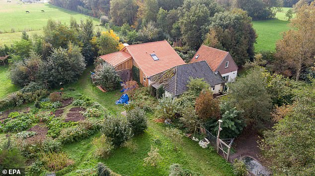A view of the remote property from a drone, showing plots close to the main building which were used to grow vegetables