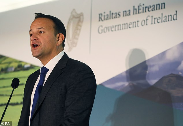 Leo Varadkar, pictured in Dublin today, said he was 'confident' a deal could be done before October 31 but that there were still numerous hurdles standing in the way