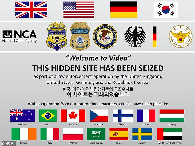 Welcome to Video, the site used by paedophiles around the world, has now been shut down and replaced with this message
