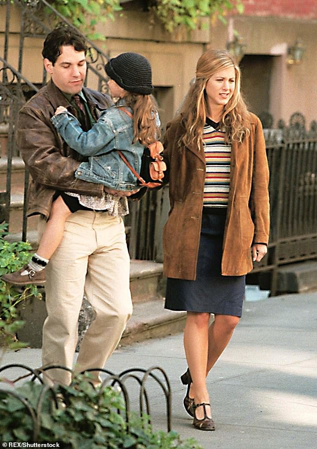 Filming: Paul Rudd, Sarah Hyland, and Jennifer are pictured above filming in 1997 for their movie The Object of My Affection