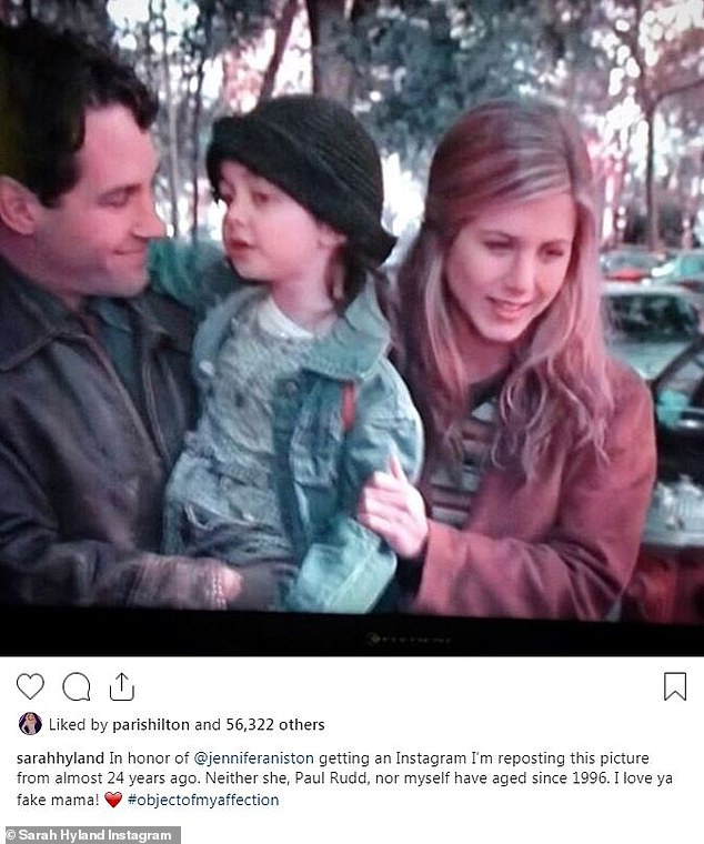 Celebration:Modern Family's Sarah Hyland took to her social channel on Wednesday to share a throwback photo to celebrate Jennifer Aniston joining Instagram