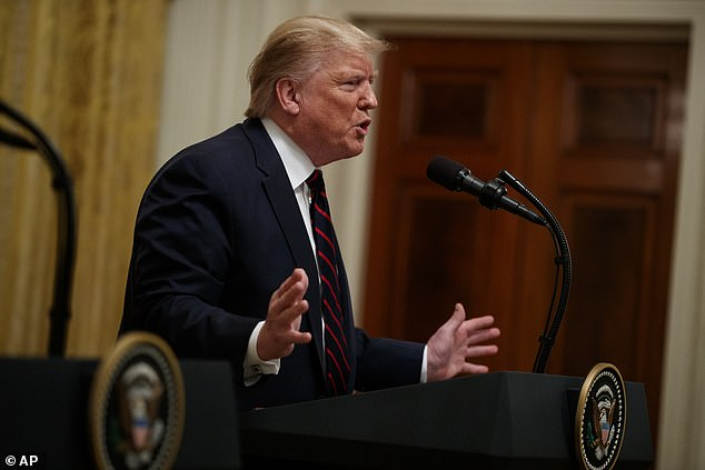 UNDER CONTROL: President Donald Trump welcomed Russian intervention along with Syria to push back against Turkey's incursion into Syrian territory. Of the overall conflict, he said: 'It's a very semi-complicated – not too complicated if you're smart – but it's a semi-complicated problem, and I think it's a problem that we have nicely under control'